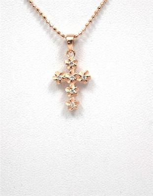 ROSE GOLD PLATED SILVER 925 HAWAIIAN PLUMERIA FLOWER CROSS PENDANT CZ 11MM SMALL