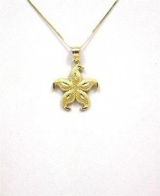 17MM 14K YELLOW GOLD HAWAIIAN SEA STAR STARFISH CHARM PENDANT DIAMOND CUT MEDIUM