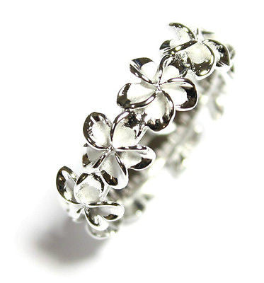 STERLING SILVER 925 HAWAIIAN PLUMERIA FLOWER LEI BAND RING RHODIUM SIZE 3 -10
