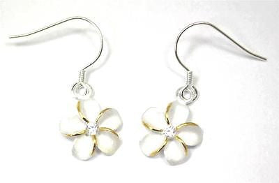 SILVER 925 HAWAIIAN PLUMERIA EARRINGS ON WIRE HOOK 2 TONE CZ 15MM