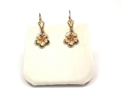 9MM SOLID 14K PINK ROSE GOLD HAWAIIAN FANCY PLUMERIA FLOWER EARRINGS LEVERBACK
