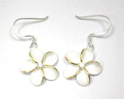 SILVER 925 HAWAIIAN PLUMERIA EARRINGS ON WIRE HOOK 2 TONE CZ 18MM