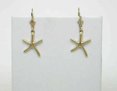 14K SOLID YELLOW GOLD HIGH POLISH SHINY HAWAIIAN STARFISH LEVERBACK EARRINGS