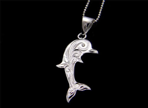 STERLING SILVER 925 HAWAIIAN SCROLL ENGRAVED DOLPHIN PENDANT CZ