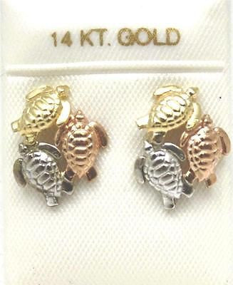 11MM 14K TRICOLOR SOLID GOLD HAWAIIAN HONU SEA TURTLE POST STUD EARRINGS