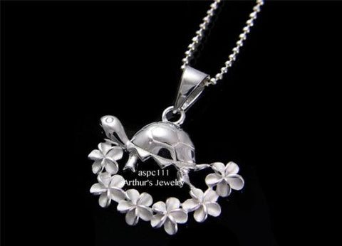 STERLING SILVER 925 CZ EYE TURTLE ON HAWAIIAN PLUMERIA FLOWER LEI PENDANT 22MM