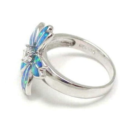 INLAY OPAL STERLING SILVER 925 HAWAIIAN PLUMERIA FLOWER RING 19MM SIZE 5-10