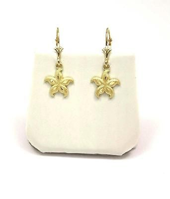 11MM 14K YELLOW GOLD HAWAIIAN SEA STAR STARFISH DANGLE EARRINGS LEVERBACK