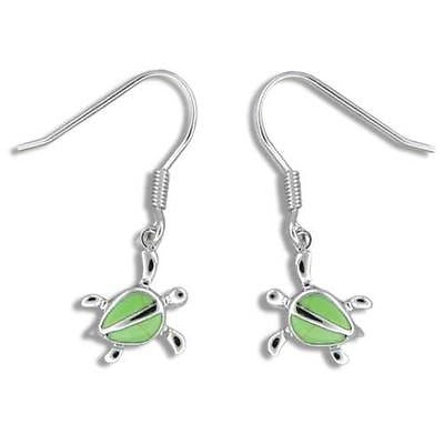 11MM SILVER 925 GREEN TURQUOISE HAWAIIAN HONU TURTLE EARRINGS WIRE HOOK RHODIUM
