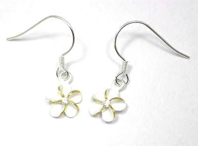 SILVER 925 HAWAIIAN PLUMERIA EARRINGS ON WIRE HOOK 2 TONE CZ 10MM