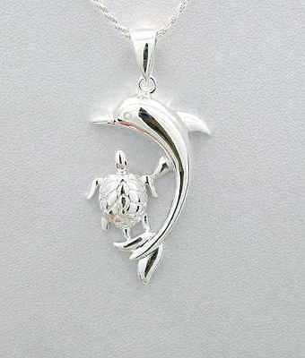 STERLING SILVER 925 SHINY HAWAIIAN DOLPHIN HONU SEA TURTLE PENDANT LARGE