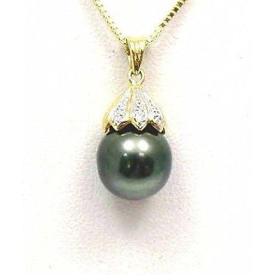 10.52M TAHITIAN PEARL & DIAMOND PENDANT SOLID 14K YELLOW GOLD