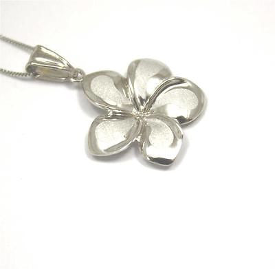 19MM SOLID 14K WHITE GOLD HAWAIIAN FANCY PLUMERIA FLOWER CHARM PENDANT