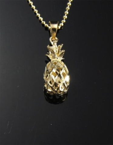 SOLID 14K YELLOW GOLD HAWAIIAN DIAMOND CUT 3D PINEAPPLE CHARM PENDANT 6.5MM