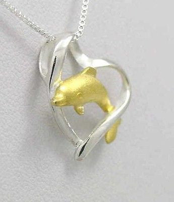 925 SILVER 2 TONE YELLOW GOLD HAWAIIAN DOLPHIN JUMPING THRU HEART SLIDE PENDANT