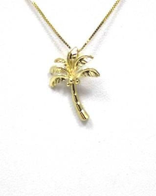 SOLID 14K YELLOW GOLD HIGH POLISH SHINY HAWAIIAN PALM TREE PENDANT