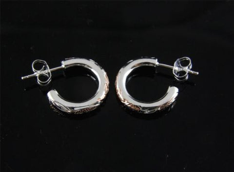 PINK ROSE SILVER 925 HAWAIIAN PLUMERIA FLOWER SCROLL HOOP EARRINGS 2.85MM SMALL