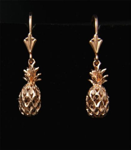 SOLID 14K ROSE GOLD HAWAIIAN DIAMOND CUT PINEAPPLE LEVERBACK EARRINGS 6.5MM