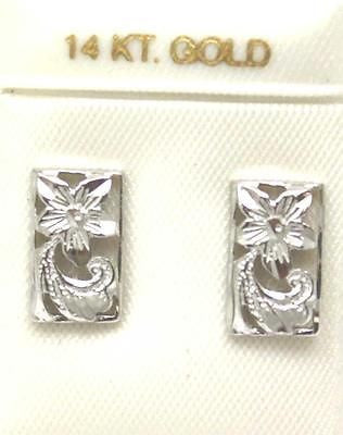 14K SOLID WHITE GOLD HAWAIIAN DIAMOND CUT PLUMERIA FLOWER SCROLL EARRINGS
