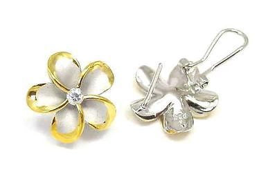 18MM SILVER 925 HAWAIIAN PLUMERIA OMEGA BACKS RHODIUM Y