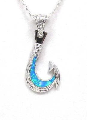 INLAY OPAL STERLING SILVER 925 HAWAIIAN SCROLL FISH HOOK PENDANT 18.50MM LARGE