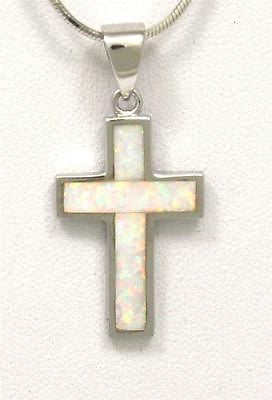 INLAY OPAL IN STERLING SILVER 925 CROSS PENDANT