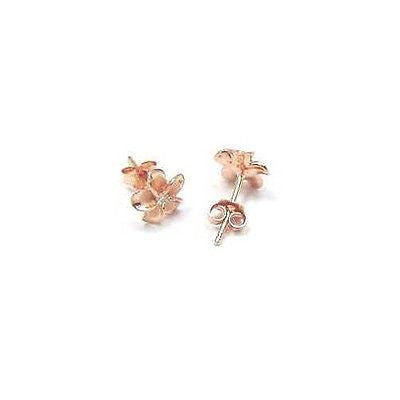 ROSE GOLD PLATED SILVER 925 HAWAIIAN PLUMERIA FLOWER STUD EARRINGS CZ 8MM