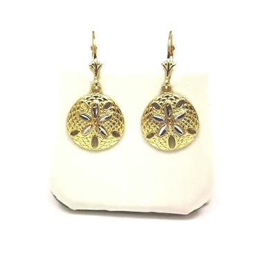 15MM 14K YELLOW GOLD WHITE GOLD 2 TONE HAWAIIAN SAND DOLLAR EARRINGS LEVERBACK