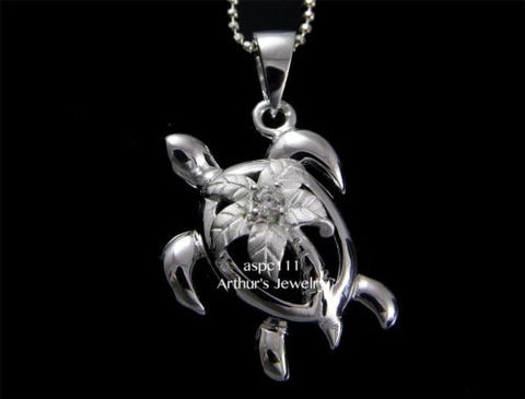 STERLING SILVER 925 HAWAIIAN PALM TREE SEA TURTLE PENDANT CZ