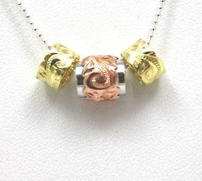 THICK SILVER 925 HAWAIIAN PLUMERIA SCROLL PINK DOUBLE BARREL YELLOW BEAD SET