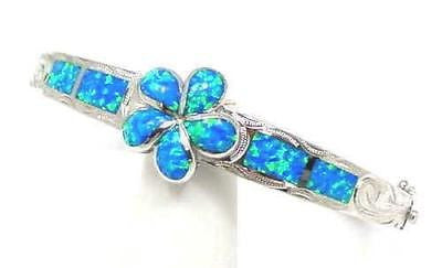 INLAY OPAL 925 STERLING SILVER HAWAIIAN SCROLL 17MM PLUMERIA FLOWER HINGE BANGLE