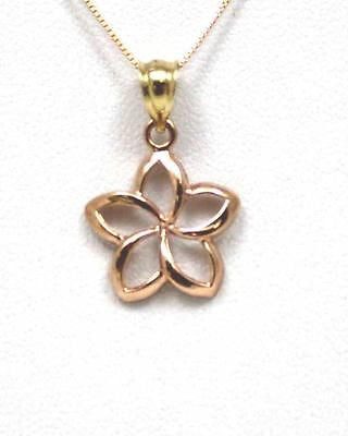 14MM 14K SOLID PINK ROSE GOLD HAWAIIAN POLISH SHINY OPEN PLUMERIA FLOWER PENDANT