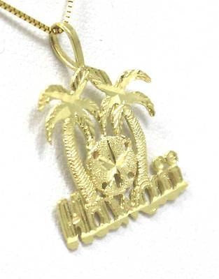 14K SOLID YELLOW GOLD HAWAIIAN DIAMOND CUT PALM TREE SAND DOLLAR HAWAII PENDANT