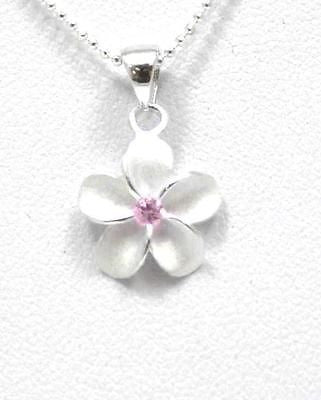 STERLING SILVER 925 HAWAIIAN SINGLE PLUMERIA FLOWER PENDANT CHARM PINK CZ 12MM