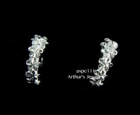 STERLING SILVER 925 HAWAIIAN 7 SHINY 4MM PLUMERIA FLOWER HOOP POST EARRINGS