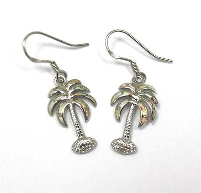 INLAY OPAL SILVER 925 HAWAIIAN PALM TREE EARRINGS WIRE HOOK