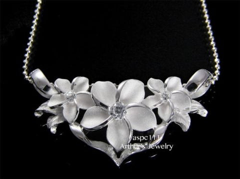 STERLING SILVER 925 HAWAIIAN 3 PLUMERIA FLOWER MAILE LEAVES SLIDE PENDANT CZ