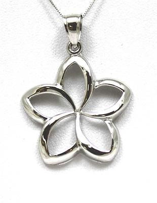 27MM SOLID 14K WHITE GOLD HAWAIIAN POLISH SHINY OPEN PLUMERIA FLOWER PENDANT
