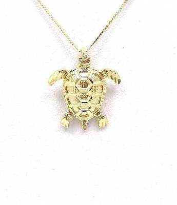 14K SOLID YELLOW GOLD HAWAIIAN DIAMOND CUT SEA TURTLE HONU PENDANT MEDIUM 16.5MM