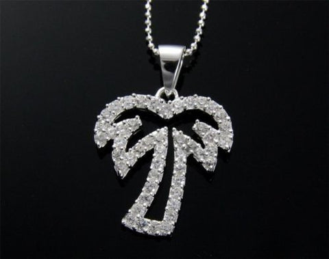 STERLING SILVER 925 CUBIC ZIRCONIA CZ OUTLINE HAWAIIAN PALM TREE PENDANT