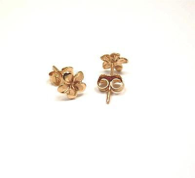 7MM SOLID 14K PINK ROSE GOLD HAWAIIAN FANCY PLUMERIA FLOWER STUD EARRINGS
