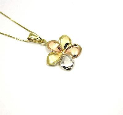 17MM SOLID 14K TRICOLOR GOLD HAWAIIAN FANCY PLUMERIA FLOWER PENDANT CHARM