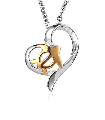 SILVER 925 HAWAIIAN GOLD HONU TURTLE HEART PENDANT