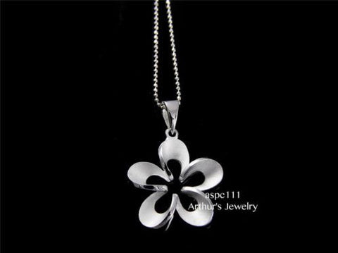 SILVER 925 HAWAIIAN CUT OUT BRUSH FINISH PLUMERIA FLOWER OUTLINE PENDANT 21MM