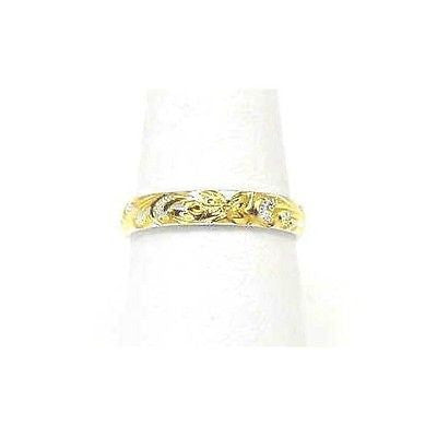 4MM YELLOW GOLD PLATED SILVER 925 HAWAIIAN PLUMERIA SCROLL BAND RING SIZE 2 - 12