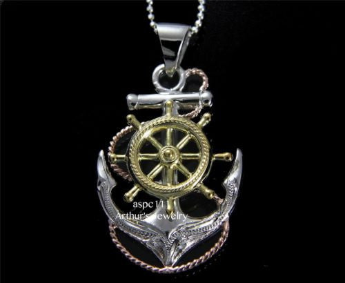 STERLING SILVER 925 TRICOLOR HAWAIIAN SCROLL ANCHOR OF HOPE SHIP WHEEL PENDANT
