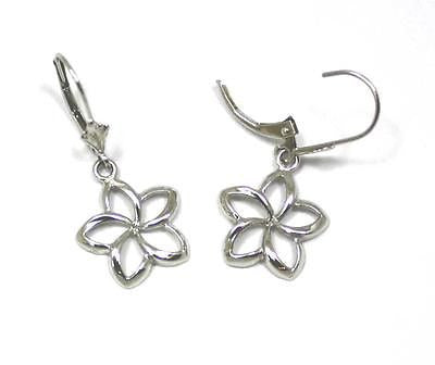 14MM 14K SOLID WHITE GOLD HAWAIIAN SHINY OPEN PLUMERIA FLOWER EARRINGS LEVERBACK
