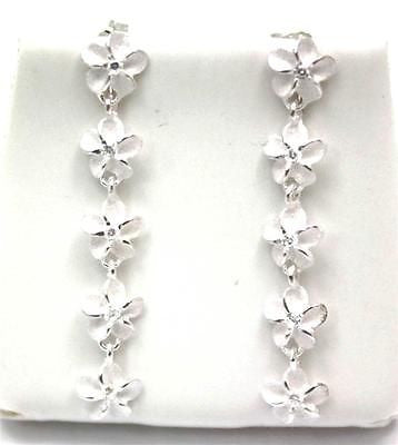 SILVER 925 HAWAIIAN PLUMERIA FLOWER 6MM DANGLE EARRINGS CZ