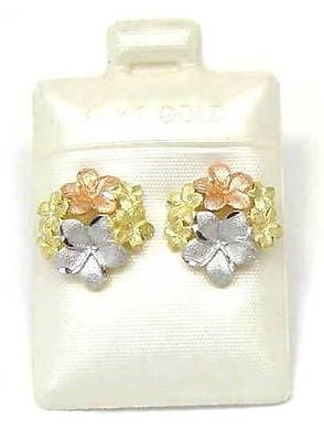 14K TRICOLOR YELLOW PINK WHITE GOLD HAWAIIAN PLUMERIA FLOWER POST STUD EARRINGS