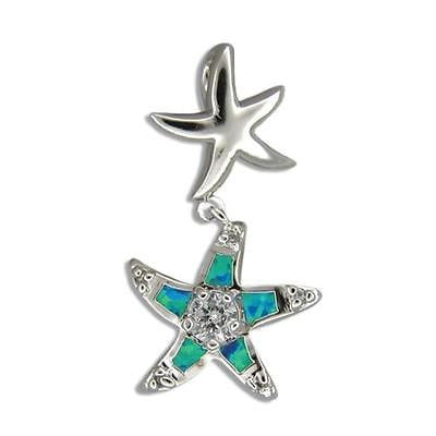 SILVER 925 SHINY HAWAIIAN STARFISH SEA STAR DANGLE INLAY OPAL PENDANT CHARM CZ